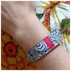 Lilly Pulitzer Navy Pink Gold Bangle Bracelet
